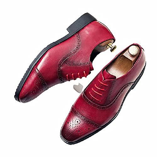 Zapatos Oxford para Hombre Zapatos de Cuero con Cordones de Corte bajo...
