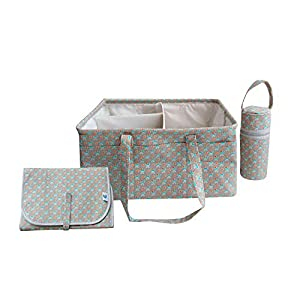 Gigattt Baby Diaper Caddy Organizer – A Perfect Diaper Storage Caddy Basket with a Bundle of Changing Pads and Water Bottle for Baby Essentials Used for Baby boy and Baby Girl.