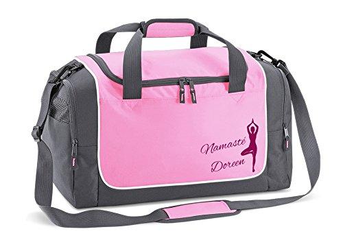 Werbetreff Gera Yoga Tasche in rosa für Frauen mit Name Bedruckt Quadra Sporttasche pink Namasté, Pilates, Fitnessstudio