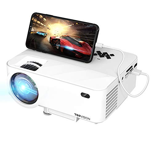 TOPVISION Mini Beamer mit Screen Mirroring,5000 Lumen Heimkino Beamer Full HD 1080P Video Beamer mit 240' Display, 80000 Stunden LCD Beamer kompatibel mit HDMI/USB/SD/AV/VGA