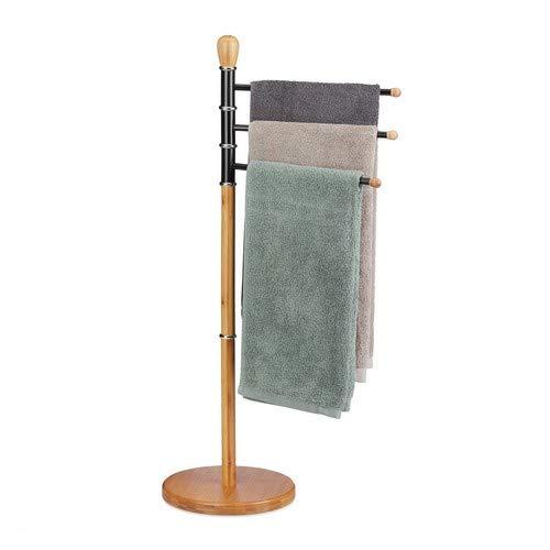 Relaxdays Handtuchhalter stehend, verstellbar, ohne Bohren, 3 Handtuchstangen,Bambus Metall, HBT: 94 x 48x 48 cm, Natur