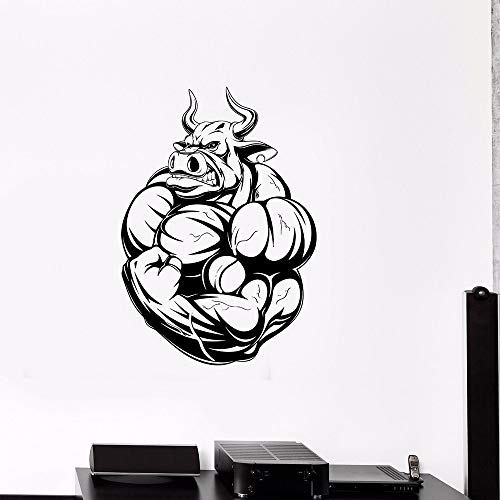 Tianpengyuanshuai Angry Bull Wandtattoo Gym Fitness Muskel Vinyl Wandaufkleber 29X42cm