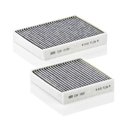 Original MANN-FILTER Filtro de habitáculo CUK 21 000-2 – Paquete de filtros de habitáculo (set de 2) con carbón activo – para automóviles