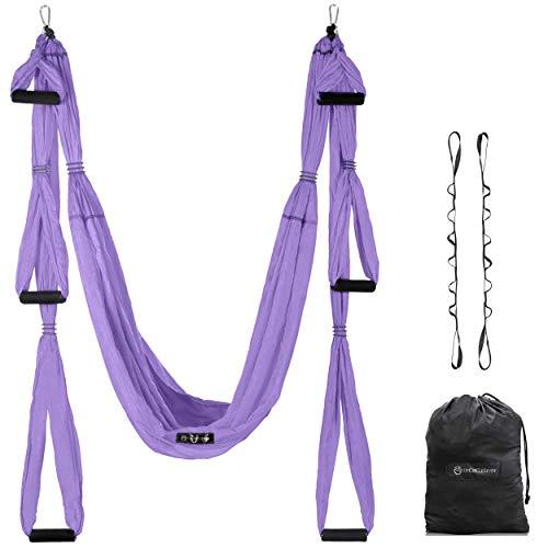 UpCircleSeven Aerial Yoga Swing Set - Yoga Hammock/Sling Kit + Extension Straps & Guide - Inversion Swing for Beginners & Kids - Ceiling Hanging Yoga Sling (Purple)