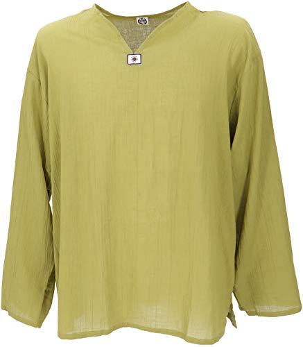 GURU-SHOP Camisa de La Yoga, Camisa de Goa, Algodón, Camisas de Hombre