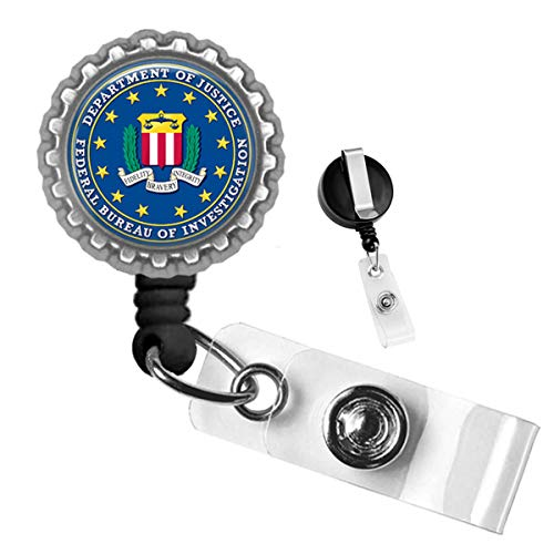 Department of Justice Federal Bureau of Investigation Silver Retractable ID Tag Badge Reel