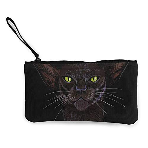 Black Oriental Cat Face with Green Eyes Hand DrawnCanvas Cash Coin Purse, Cosmetic Bag Zipper Small Purse, Mobile Phone Bag with Handle