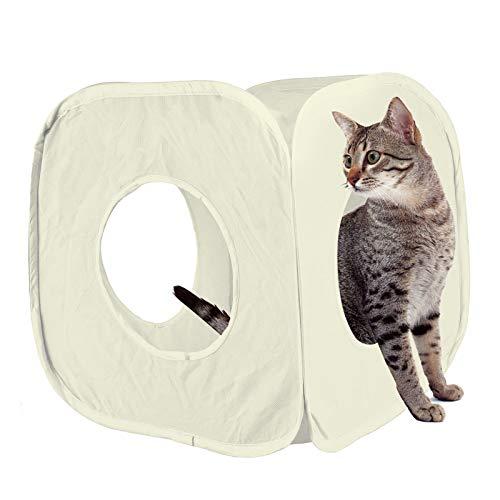 huisdier leven pop up kat kitten spelen kubus leuk sterk doos voor kat konijn speelgoed, One size 38cm approx, cr�me