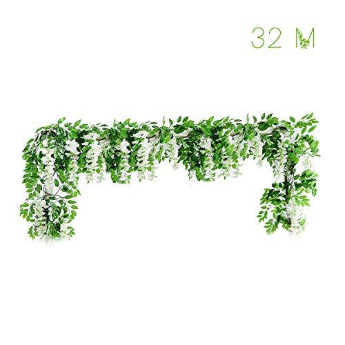 LACKINGONE Pack van 2 Wisteria Garlands Kunstmatige Paarse Wisteria Kunstbloemen Wijnstok - 6.6' Lang - 6 String Bloemen voor Thuis Tuin Outdoor Yard Ceremony Bruiloft Boog Bloemen