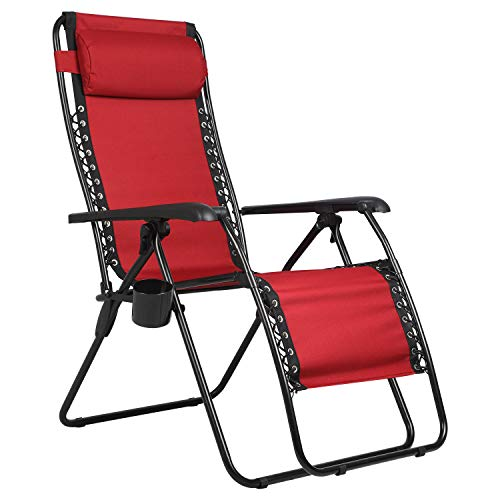 PORTAL Zero Gravity Recliner Lounge Chair, Folding Patio Lawn Pool Chair with Headrest Cup Holder, Support 300lbs, Red