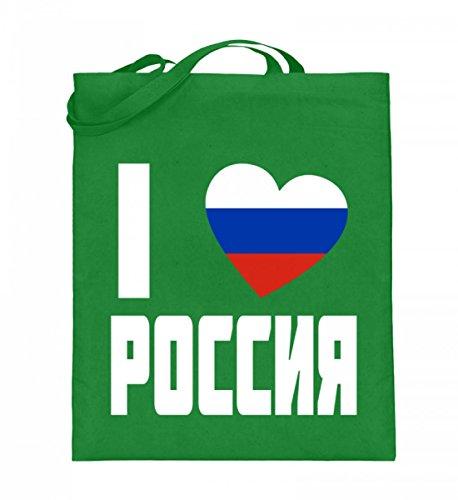 Hochwertiger Jutebeutel (mit langen Henkeln) - Flagge Russland I Love POCCNR Russische Fahne Fan Trikot Geschenk