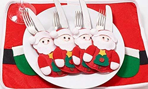 EGLEMTEK Set di 8 Portaposate (4 Pan di Zenzero + 4 Babbo Natale)