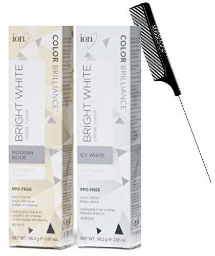 ION Color Brilliance BRIGHT WHITE Creme Toner, Hair Color Dye Toning, Intensive Shine, PPD Free (w/Sleek Comb) Haircolor Cream Tone (PLATINUM LACE)