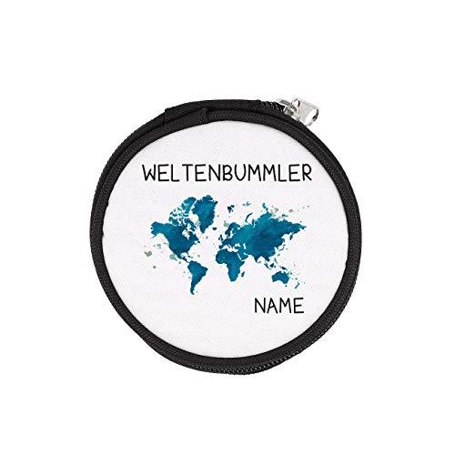 Herz & Heim® Runde Geldbörse für Weltenbummler mit Gratis Namensaufdruck
