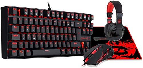 Auriculares de juego personalizados Esports retroiluminados para juegos Teclado mecánico para juegos Gaming Mouse Pad de ratón y juego de auriculares Combo (Color: Negro)