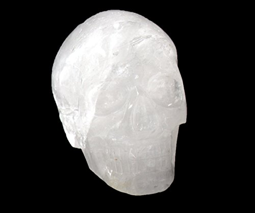 Tianmai Natural Clear Crystal Carved Realistic Skull Sculpture, Healing Energy Reiki Collectible Figurine (Michele Carved Skull)