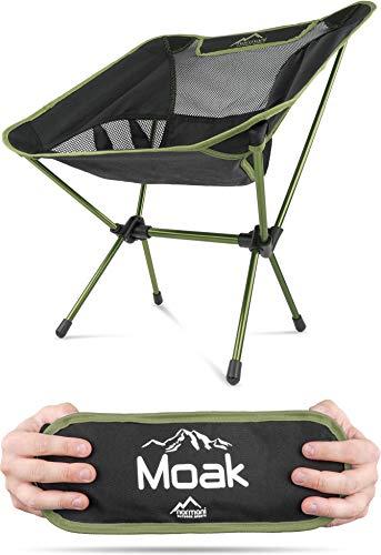 Campingstuhl Ultraleicht und Kompakt - Klappbarer Outdoorstuhl mit 796g! Faltbarer Strandstuhl Anglerstuhl Festivalstuhl Wanderstuhl Farbe Oliv