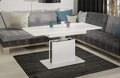 Endo-Moebel Couchtisch Lira höhenverstellbar erweiterbar ausziehbar 110cm - 140cm Tisch (Weiß Hochglanz)
