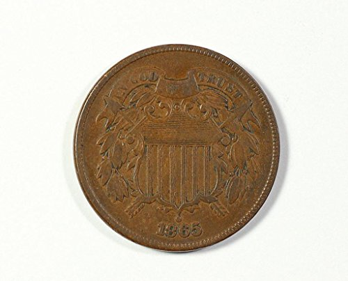 1865 No Mint Mark Circulated Two Cent Piece Civil War Era Two-Cent...