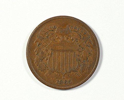 1865 No Mint Mark Circulated Two Cent Piece Civil War Era Two-Cent Seller Good