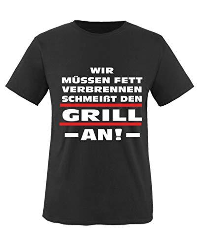 Comedy Shirts - Wir muessen Fett verbrennen. Schmeisst den Grill an! - Jungen T-Shirt - Schwarz/Weiss-Rot Gr. 122/128