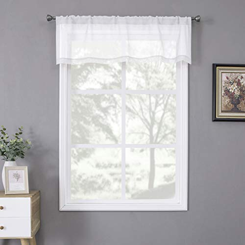 Tollpiz White Sheer Valance Linen Textured Bedroom Valance Curtains Sheer Light Filtering Rod Pocket Voile Curtain Valances for Living Room, 54 x 16 inches Long, Set of 1 Panel