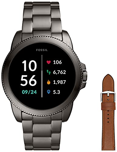 Fossil Connected Smartwatch Gen 5E para Hombre con tecnología Wear OS de Google, frecuencia cardíaca, GPS, NFC y notificaciones smartwatch, Acero Inoxidable + Correa de Piel Marrón Claro y Silicona