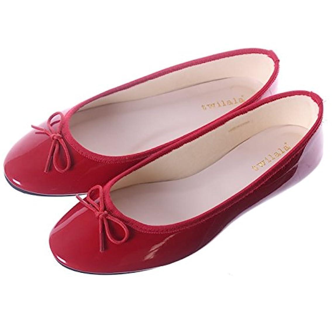 文句を言う舞い上がる祝福する[ジャッコランタン] バレエシューズ レディース エナメル 黒 大きいサイズ フラットシューズ フラット 靴