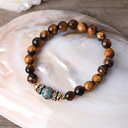 JIAQ Colgante de gota de agua de fósiles de flores naturales de 8 mm con piedra de ojo de tigre y ágata de océano, cuentas redondas de jazmes, collar hecho a mano anudado (color de metal: pulsera)
