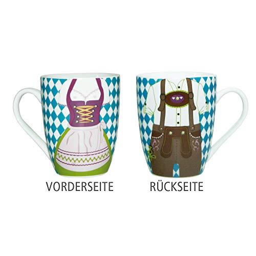 ebos Dirndl Lederhose - Tasse | Kaffeetasse, Teetasse, Porzellantasse | lebensmittelecht, spülmaschinengeeignet (Bavaria)