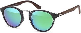 styleBREAKER Lunettes de soleil en optique bois et verres ronds, monture plastique-métal, unisexe 09020083