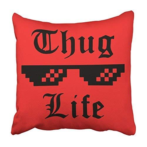 BridgetWhy50 Black Thug Life Brille Meme Aufkleber Applikation Kleidung Label für Jeans, Casual Wear Red Christmas Kissenbezug 18x18 Weihnachten Dekoration für Zuhause