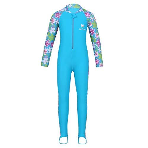 TiaoBug Mädchen Einteiler Badeanzug Ganzkörper Schwimmanzug mit Sonnenschutz Rashguard Neoprenanzug geblümt Lange Ärmel Hose mit Steg Hellblau 140-152