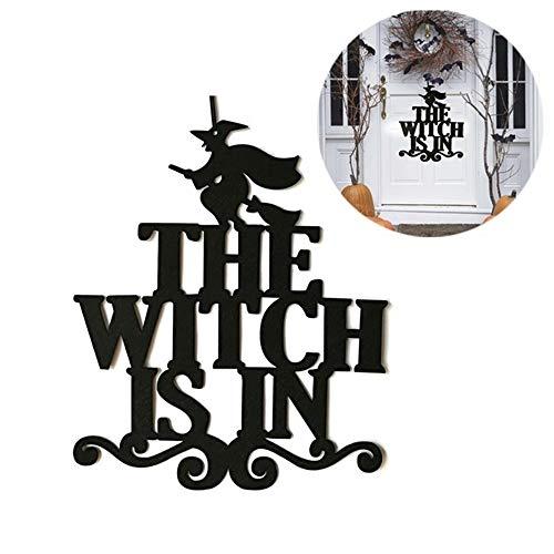 Sayla Halloween Glücklichen Hexe Schild Vliesschild Wandschild Türschild Fensterschild Hängende Dekoration mit The Witch Zeichen Innenministerium-Garten-Portal-Haustür-Dekorationen (A)