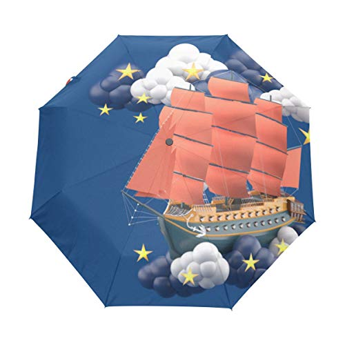 Cute Parasol For Sunny Day Three-dimensional Boat Windproof Polyester With Cover Automatic Open Close For Adult