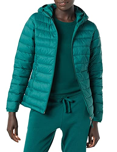 Amazon Essentials Lightweight Water-Resistant Packable Hooded Puffer Jacket Chaqueta, Verde Oscuro, L