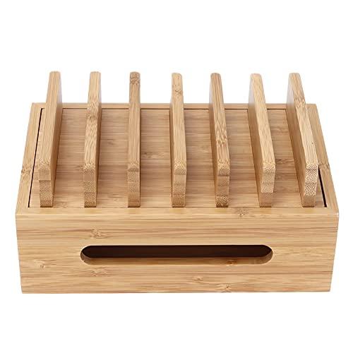 AUNMAS Estación de Carga Organizador de Muelle con Servicio de Valet, Base de Madera de bambú para teléfono móvil, Organizador de Tableta portátil, Caja de Almacenamiento para Oficina en casa