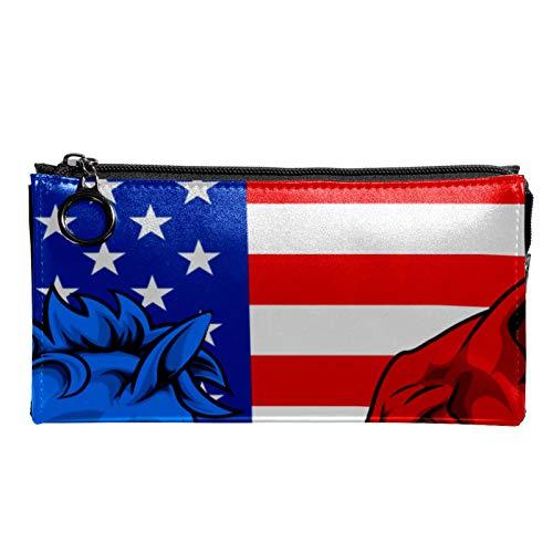 Neceser de Maquillaje Estuche Escolar para Cosméticos Bolsa de Aseo Grande Bandera Americana Burro Azul y Elefante Rojo.