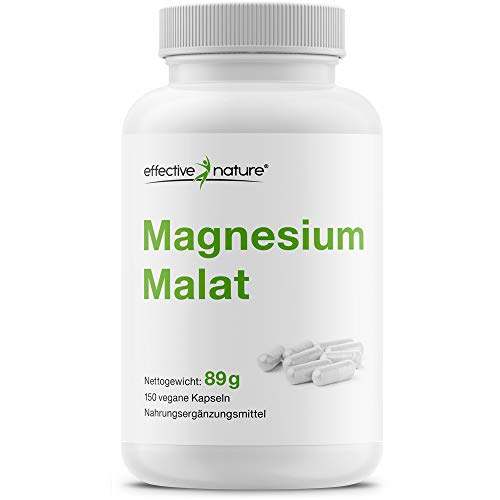 Effective nature | Magnesium Malat | Pro Tagesdosis 375mg Mg | Hohe Verträglichkeit u. Bioverfügbarkeit | Hergestellt u. laborgeprüft in Deutschland | 150 Kapseln