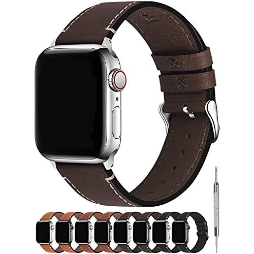 Fullmosa Correa Apple Watch Series SE 6/5/4/3/2/1 4 Colores, Vintage Pulsera de Cuero Reemplazo de Apple Watch para Mujeres Hombres, Café + Hebilla Plata, 38mm/40mm