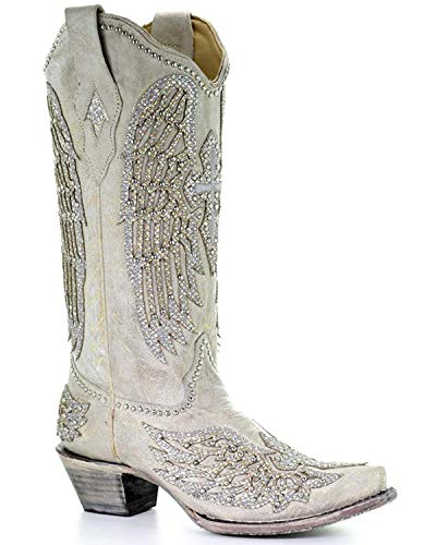 CORRAL Women's Angela Western Boot Snip Toe White 10.5 M