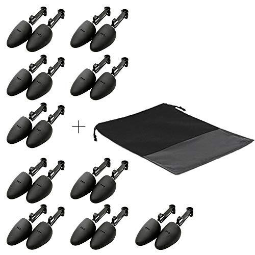 WAJJ 10 Pairs Practical Adjustable Length Men Shoe Tree Stretcher Holder Shaper Support with A Shoe Bag(Men Black)
