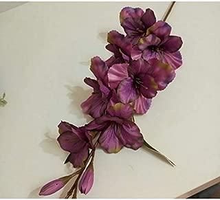 Decorations Zereff Artificial Flower Autumn Gladiolus Orchid Artificial Flower Plant Wedding Celebration Home Potted Fake Flower Decoration - (Color: Deep Purple)