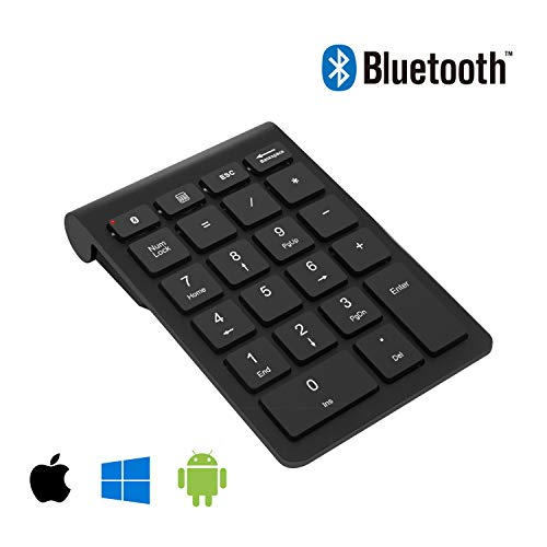 Bluetooth Numeric Keypad, Bawanfa Portable Wireless 22 Keys External Number Pad for Laptop, Tablet, Notebook, PC, Desktop and More【Upgraded Version】
