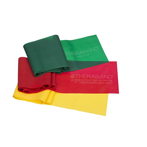 TheraBand Resistance Band Set, Professional Latex Elastic Bands for Upper & Lower Body & Core Exercise,Yellow & Red & Green
