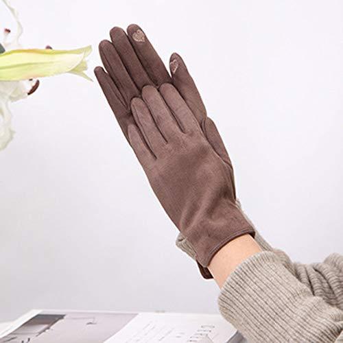 Women Winter Gloves,Gamuza De Pantalla Táctil Marrón Cinco Dedos Guantes De Invierno...