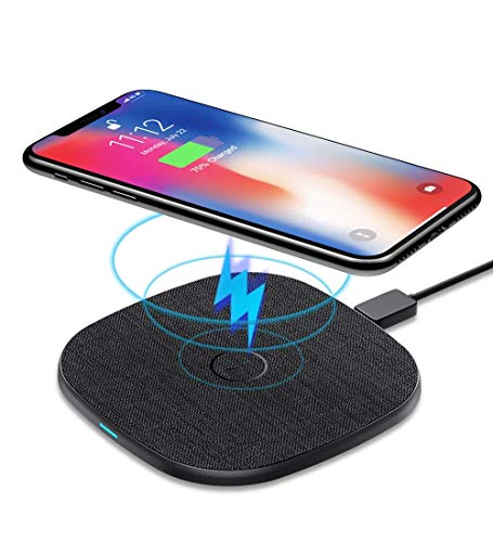 AGPTEK 10 W Cargador Inalámbrico Rápido, Qi Wireless Charger 10W/7.5W/5W para iPhone X/XS/XR/11/11Pro/12/12Pro, Galaxy S10/S10+/S10E/S9/S9+/S9+, Huawei Mate 20 Pro/ 30 Pro, Airpods2/Pro