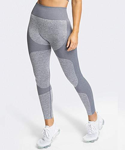 Yaavii Pantalon Yoga Longue Legging de Sport Taille Haute sans Couture pour Femme - Gris - M/EU38-40