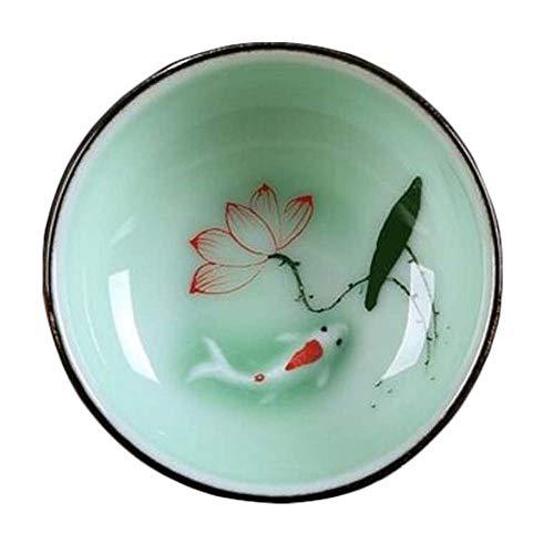 East Utopia Belle Tasse à thé en Porcelaine Chinoise, Tasse de thé Kungfu, Poissons et Lotus Lot de 2# 2