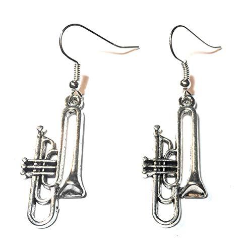 FizzyButton Geschenken Zilver Toon Trompet Cornet Drop Oorbellen met Verzilverde Oor Draden in Turkoois Geschenkdoos